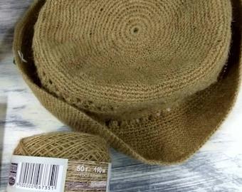 HEMP YARN - Organic 100% hemp yarn - Eco Hemp Yarn - Natural Hemp color - 50 gr 190 meters - Hemp for Knitting Crocheting Weaving Crafts