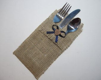 Burlap Silverware Holders - Set of 25 - Personalized for your Rustic Country Wedding - Shown with Navy Blue Ribbon