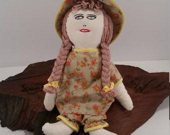 "Vintage 14"" Rag Doll with Dirty Blonde Hair, Handmade Doll In Dress with Bonnet, Blue Eye Rag Doll, Vintage Handmade Blonde Rag Doll"