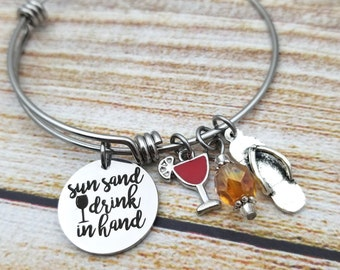Sun Sand Drink in Hand Customizable Expandable Bangle Charm Bracelet, beach jewelry, cheers, wine, margarita, party