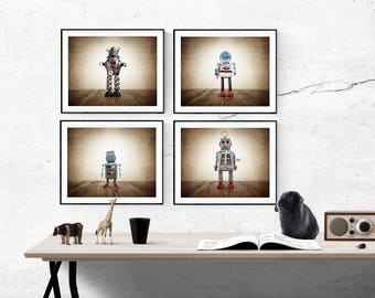 Set of Four Retro Robot Photo Art Prints, Wall Art for Kids Room, Vintage Space Decor, Sci Fi Art