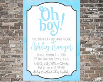 Oh Boy! Baby Shower Invitation ~ Sweet ~ Simple ~ Printable ~ Personalized | Blue Baby Boy Shower Invite