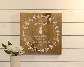 Wooden Sign, Nursery Decor, Pineapple