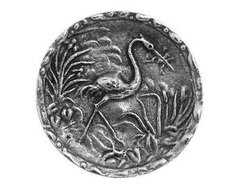 Wading Bird 1 inch ( 27 mm ) Susan Clarke Metal Button Antique Silver Color