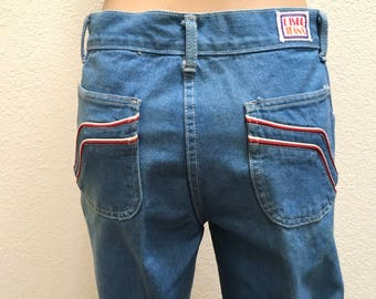 Disco Jeans High Waisted Bell Bottoms 70s Denim Blue Jeans  Size 30 x 33 Vintage Pants