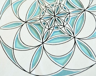 Ripples - Circle Flower Mandala Coloring Page - Instant Download PDF