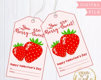 Valentine's Day Tags - printable valentine's gift tag - personalized tags Valentine's Favor Hang Tag - Berry Sweet