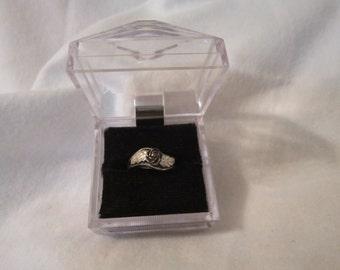 Vintage Sterling Silver Rose and Leaf Ladies Ring