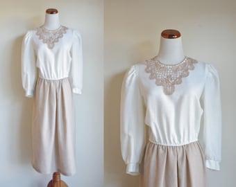 Vintage 80s Dress, Cream and Beige Color Block Dress, Lace Neckline, Puff Sleeves, Elastic Waist Dress, Medium Large