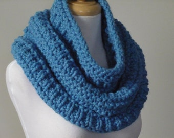 Knit Cowl, Chunky Infinity Cowl, Circle Scarf, Neck Warmer, Snood, Textured Cowl in Sky Blue - Ready to Ship - Gift for Her