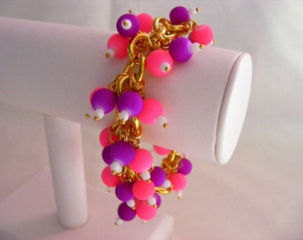 Pink and Purple Neon Charm Bracelet