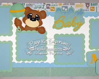 Scrapbook Page Kit Sweet Baby Boy Die Cuts 2 page Scrapbook Layout Kit 069