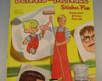 """Rare Vintage Retro 1961 Dennis the Menace """"Sticker Fun"""" Coloring Book with Cut-outs"""