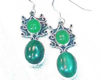 Pagoda Earrings, Malachite And Jade In Sterling Silver, Handmade Jewelry By NorthCoastCottage Jewelry Design & Vintage Treasures