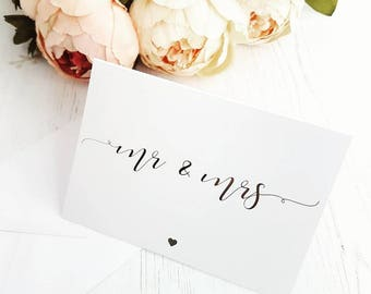 Mr And Mrs Silver Foil Wedding Card