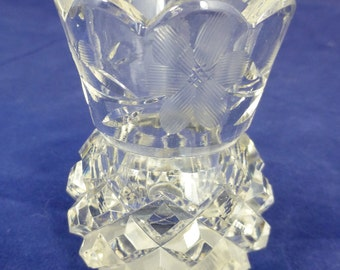 Small Cut Glass Bud Posy Vase with Cut glass Flowers - 7 cm / 2 3/4 inch high