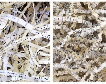 Sheet Music Shred Paper . gift wrap . crinkle paper shred . gift basket filler . Shredded Paper . krinkle paper.  recycled paper hymnal