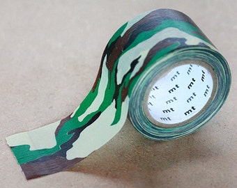 Camouflage, Japanese Washi Paper Masking Tape, mt ex, Green & Beige, Scrapbooking, Military Art Deco Tape, Adhesive Tape, Decorative Tape