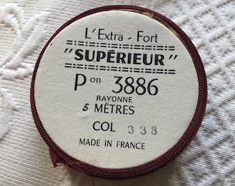 Wonderful old French Burgundy Rayon Ribbon. French Vintage Rayon Ribbon Trim.