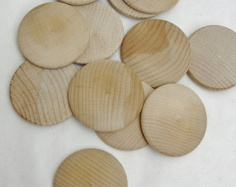 "12 Large wooden domed disks 2 1/4"", wooden Circle, domed disc, 5/16"" thick unfinished DIY"
