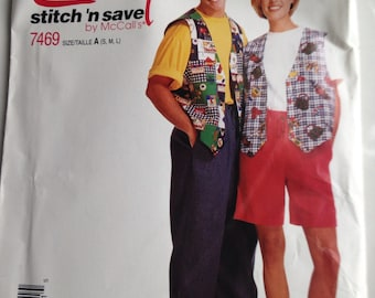 Vintage Pattern, McCall's Pattern, 1995 Pattern, Vest Pattern, Easy Stitch and Save, Pattern 7469, 1990's Pattern, Size A
