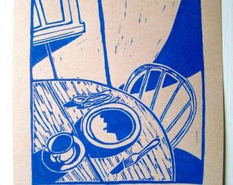 Morgen, ohne ihn Druck - 4.5x5. Blau. Linoleum Drucke Block Schnitte Hand, die gedruckte Linolschnitt Meer Druck Block handgeschnitzt Drucke handgemachte Geschenke