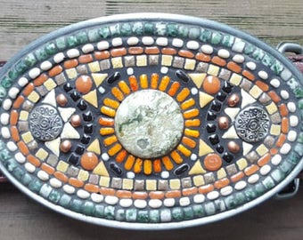 Oval Mosaic Belt Buckle
