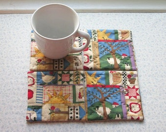 country quilting hand quilted set of mug rugs coasters