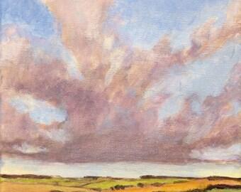 Original Landscape Painting on Canvas 8x8 California Sky Summer Hills Oak Trees