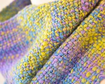 Hand woven, hand dyed, handspun wool scarf