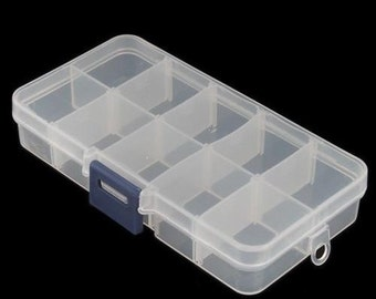 USA Plastic Storage Box Case with 10 Compartments for Rhinestone Bead Pill Nail Art Storage DIY Craft Projects Supplies