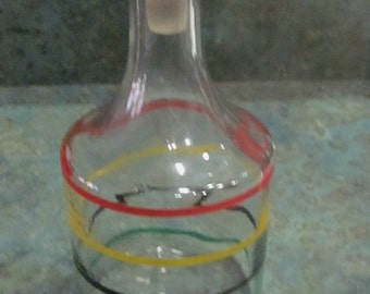 Glass Wine Decanter Juice Carafe with Glass Stopper Rainbow Stripes 1950 Era