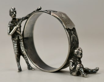 Antique Hand Made Sterling Silver Figural Napkin Ring c1880s