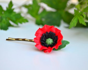 Red poppy hair clip bobby pin. Red flower floral hair clip bobby pin. Poppy accessories. Vyshyvanka Embroidery jewelry hair clip bobby pin