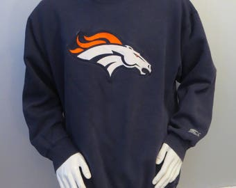 Denver Broncos Sweater (VTG) - Crested One Pound Fleece by Starter - Men's XL