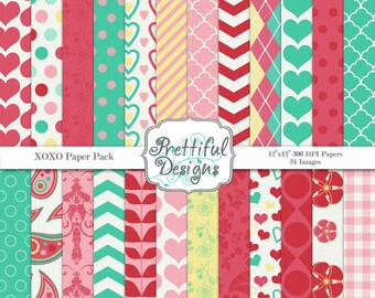 Valentine Digital Papers Commercial Use Digital Paper Pack