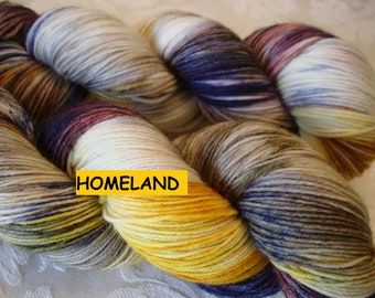 READY To SHIP, Variegated,  Sprinkled, Hand Dyed Yarn, Color -  Homeland