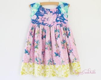 SOPHIE FLORAL Dress, Vintage Floral Dress, Girls Birthday Dress, Pink Blue Yellow Floral Dress for Girls Sizes  2T, 3/4T, 5/6, 7/8