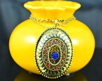 Brass,Lapis and coral pendant,Tibetan necklace,Bohemian necklace,Lapis Pendant,Bohemian locket,Tibetan Pendant,Nepali charm,FREE SHIPPING