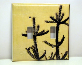 Albuquerque Adobe & Cactus -- Recycled Double Light Switch Plate, New Mexico, Southwest Photo, Upcycled, Pale Yellow, Green