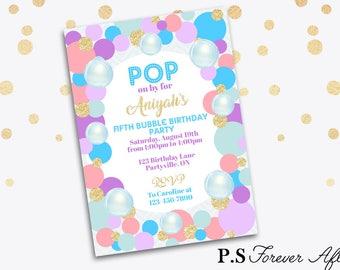 Bubble Party Invite, Bubble Birthday Party Invitation, Pop on By Invitation, Kid's Birthday Invitation, Printable Birthday Invitation