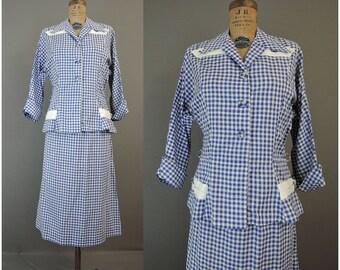 Costume de Vichy des années 1950, s'adapte à 40 buste, taille 34, costume d'été de Volupt coton fin des années 1940