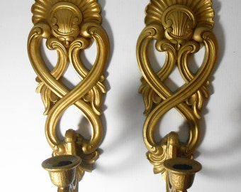 Vintage Candle Holders, Sconces, Gold, Ornate, Wall Sconce, Homco, Wall Decor, Plastic, Scrolled Design, Taper Candle Holder, Set of Two