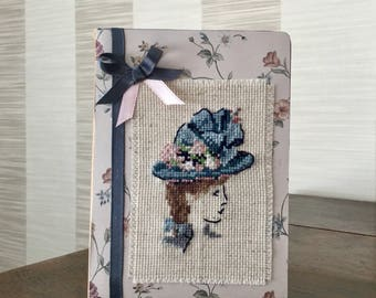 Journal embroidered silhouette Lady with Hat retro