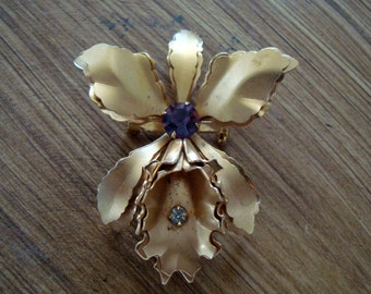 Vintage Orchid Brooch Pin with Amethyst & Clear Crystals