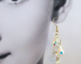 Swarovski Crystal Tear Drop Earrings Silver Circles Handmade