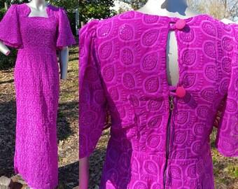 Vintage Dress, Evening Gown, Bridesmaid Dress, 80s Dress, 80s Prom Dress, Embroidered Dress, Sparkly Dress, Fuchsia Dress, Maxi Dress Size 4