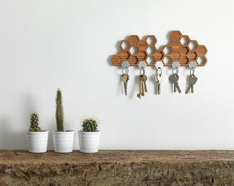Key holder etsy honeycomb magnetic key holder a unique bamboo wall mounted hook and decorative wooden storage rack ppazfo