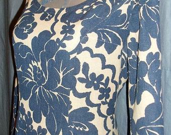 Swedish vintage dress, mod retro, vintage fabric. Floral pattern. 60s Scandinavian design. Blue colors