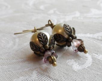 75% Off Clearance Sale, Czech Glass Earrings, Blossom, Plum, Purple, Golden, Pearl
